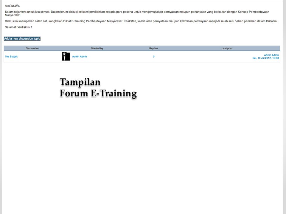 Tampilan Forum E-Training