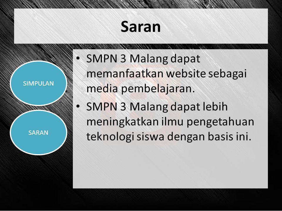 Saran SMPN 3 Malang dapat memanfaatkan website sebagai media pembelajaran.