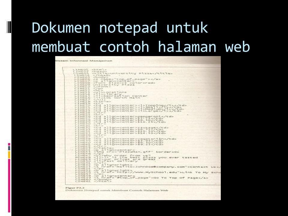 Dokumen notepad untuk membuat contoh halaman web