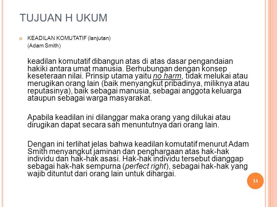 TUJUAN H UKUM KEADILAN KOMUTATIF (lanjutan) (Adam Smith)