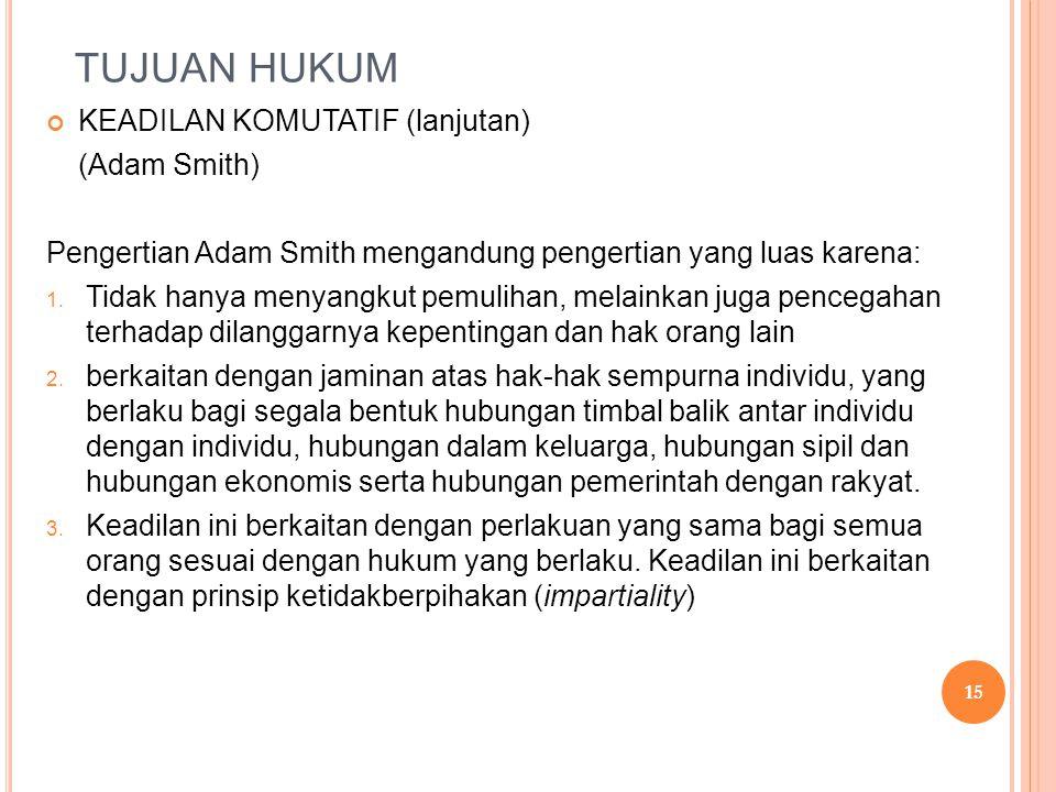 TUJUAN HUKUM KEADILAN KOMUTATIF (lanjutan) (Adam Smith)