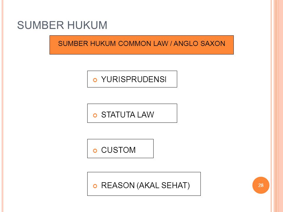 SUMBER HUKUM COMMON LAW / ANGLO SAXON