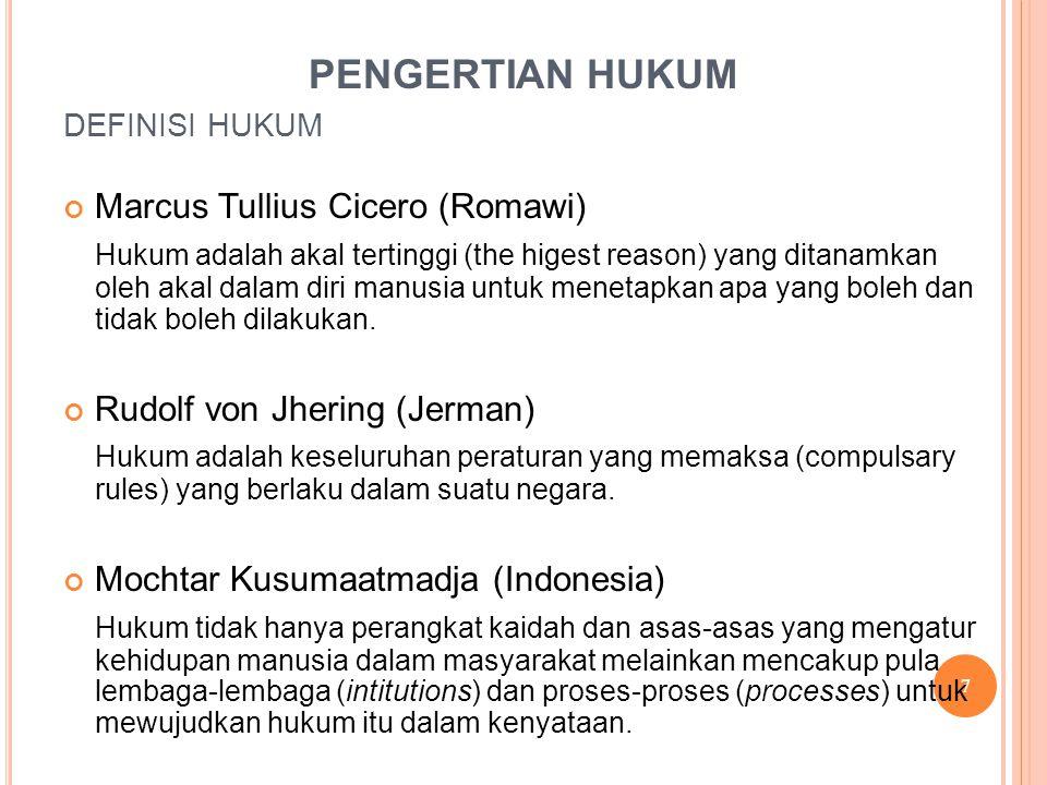 PENGERTIAN HUKUM Marcus Tullius Cicero (Romawi)