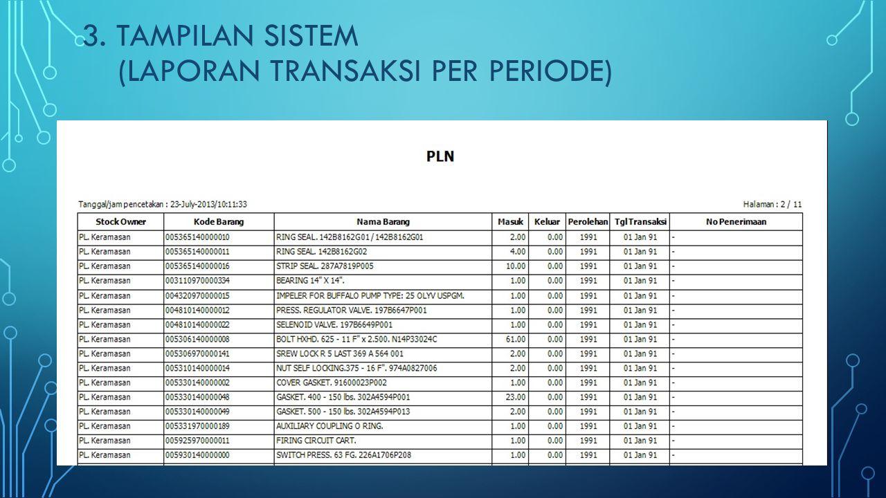 3. Tampilan SISTEM (Laporan Transaksi Per periode)