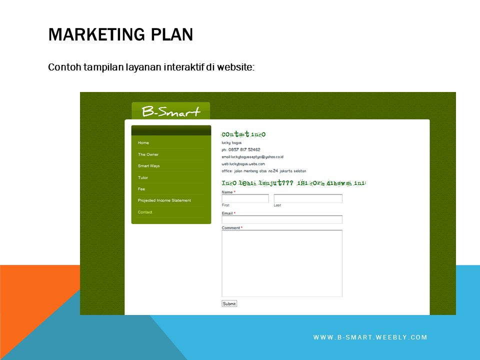 Marketing plan Contoh tampilan layanan interaktif di website: