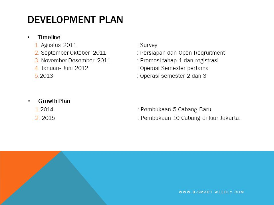 Development plan Timeline Agustus 2011 : Survey