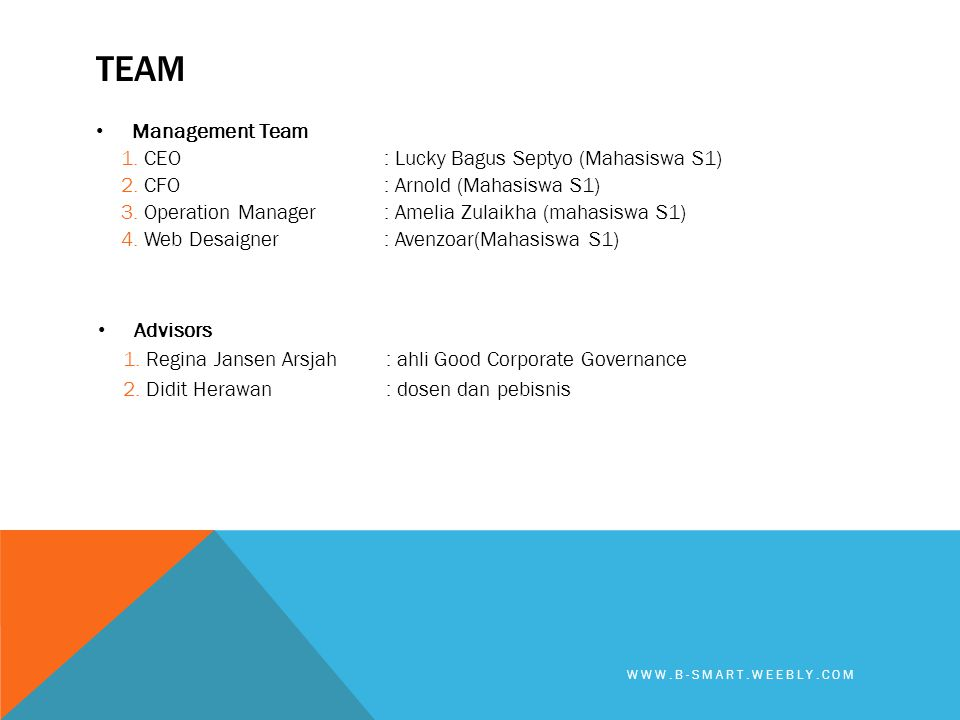 TEAm Management Team CEO : Lucky Bagus Septyo (Mahasiswa S1)