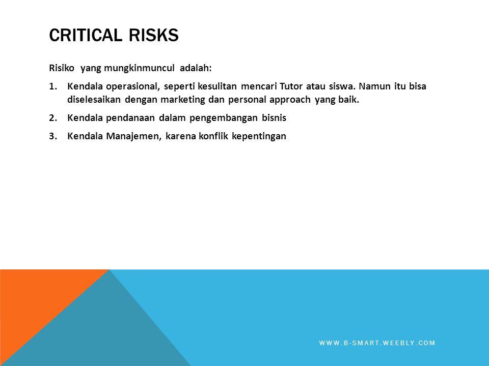 Critical Risks Risiko yang mungkinmuncul adalah: