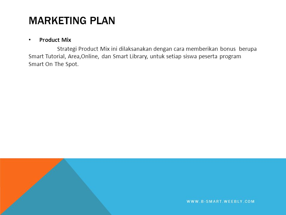 Marketing plan Product Mix