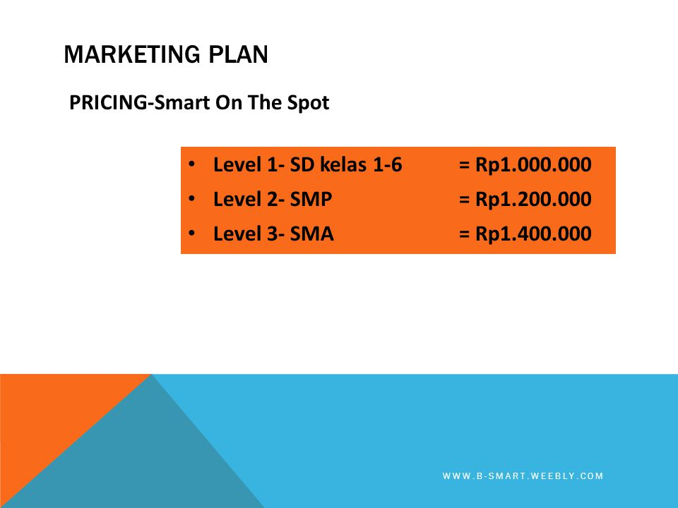 Marketing plan PRICING-Smart On The Spot