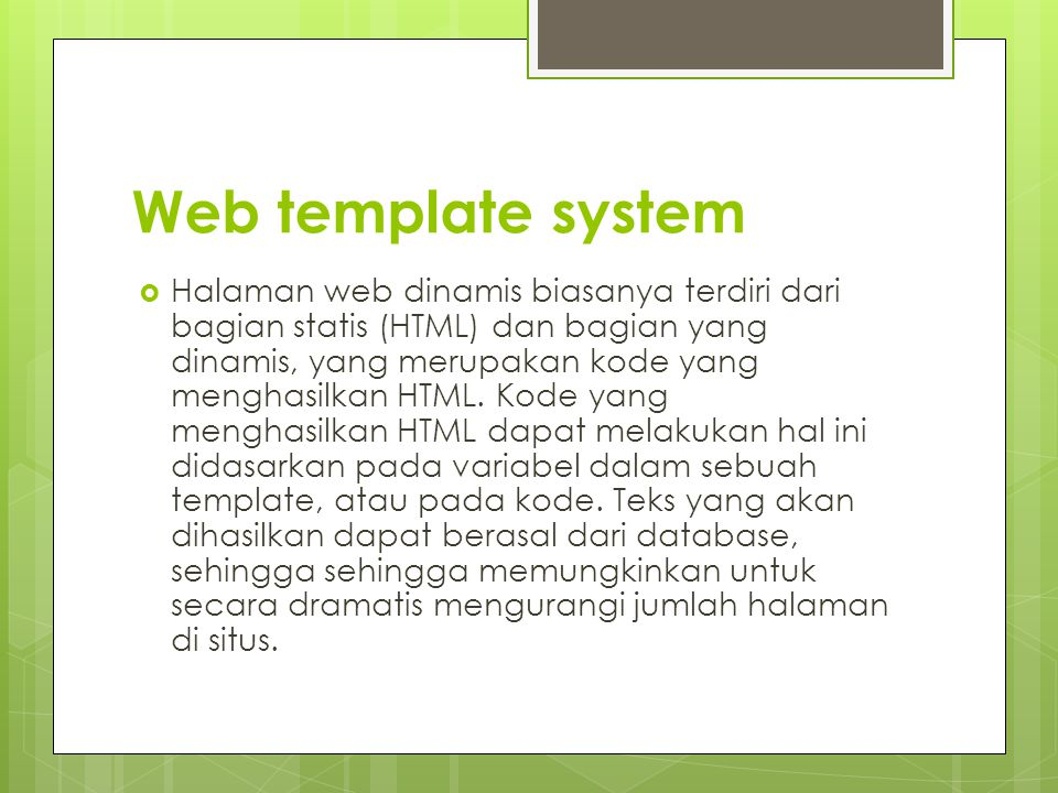Web template system