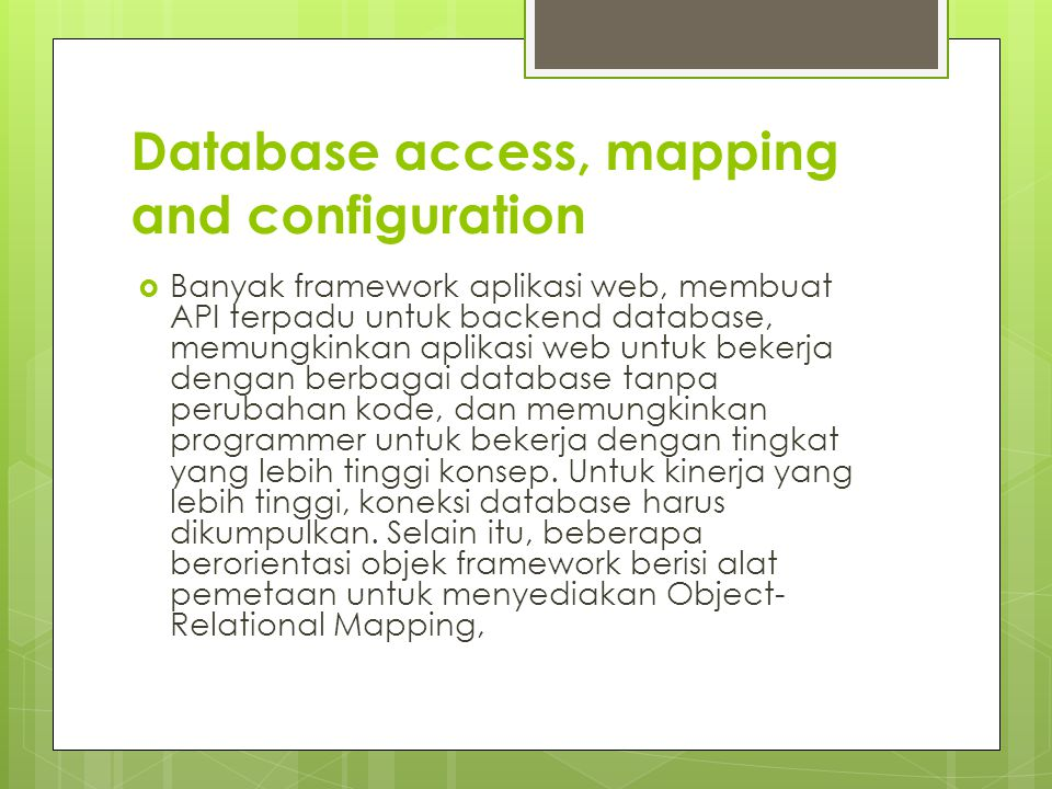 Database access, mapping and configuration