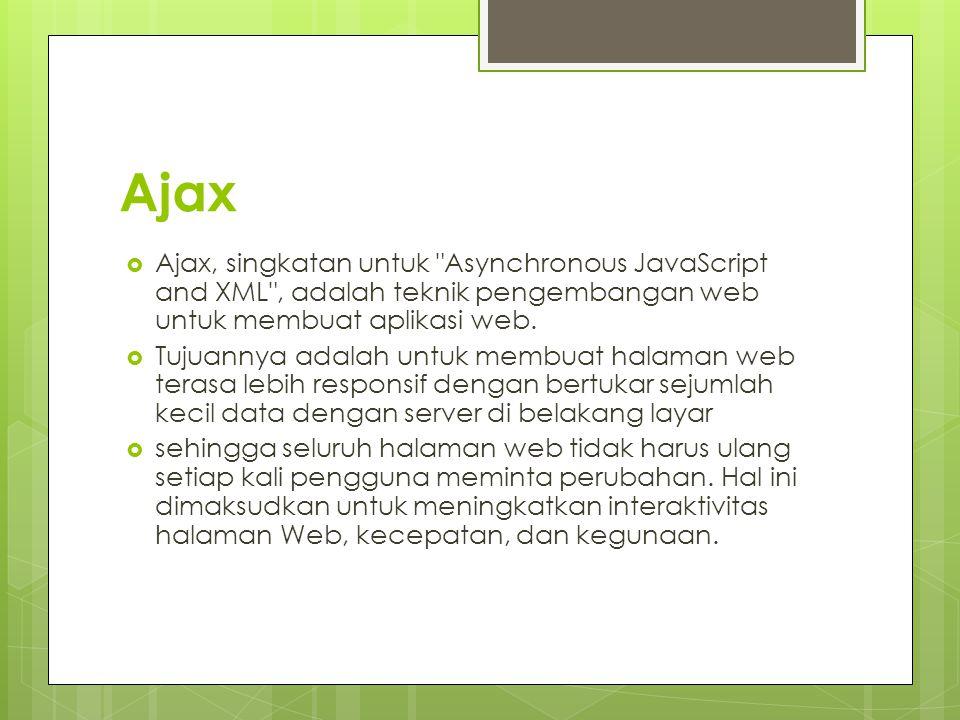 Ajax Ajax, singkatan untuk Asynchronous JavaScript and XML , adalah teknik pengembangan web untuk membuat aplikasi web.