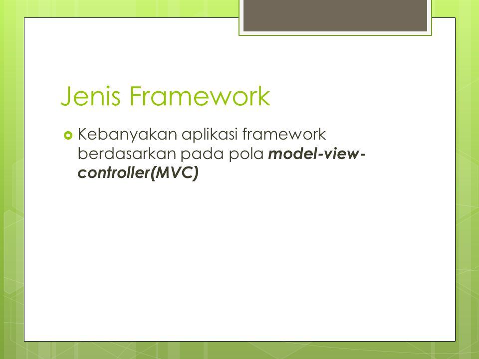 Jenis Framework Kebanyakan aplikasi framework berdasarkan pada pola model-view-controller(MVC)