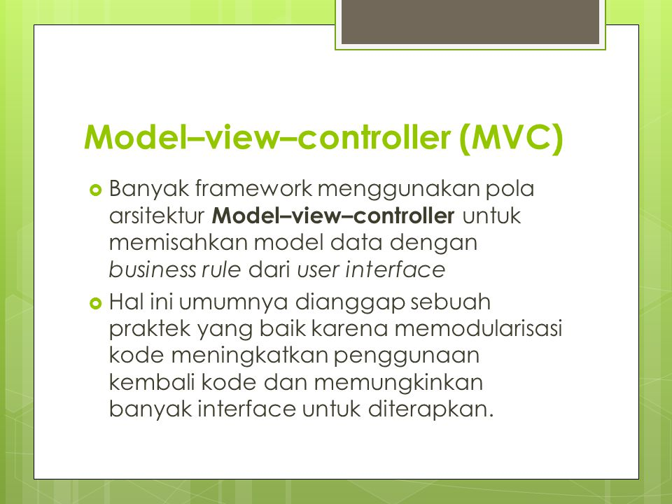 Model–view–controller (MVC)