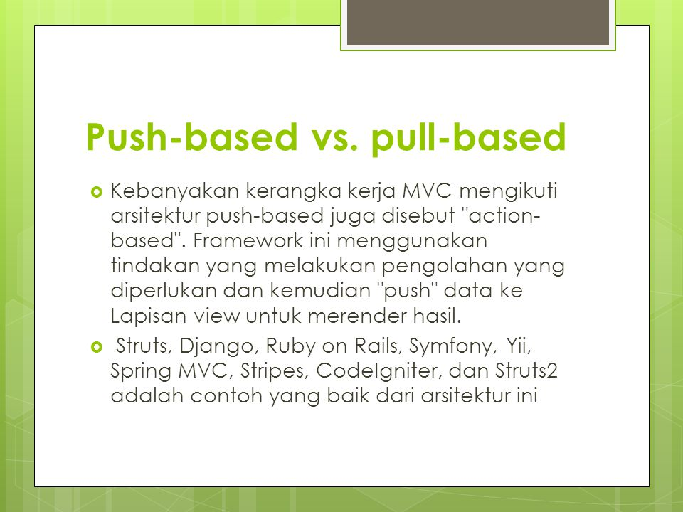 Push-based vs. pull-based