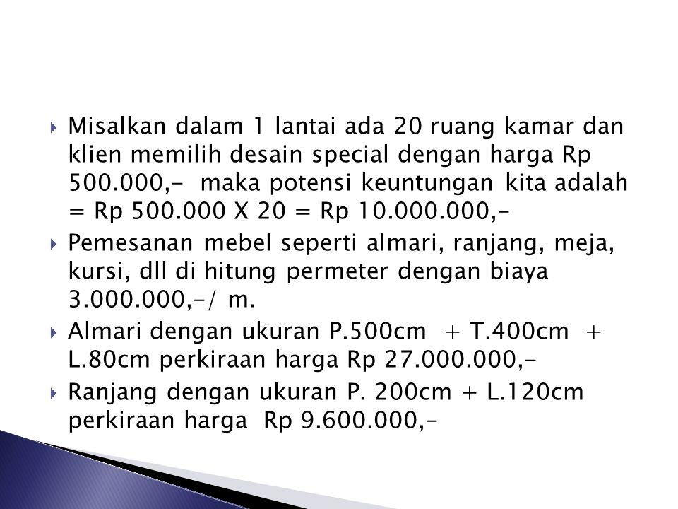 Misalkan dalam 1 lantai ada 20 ruang kamar dan klien memilih desain special dengan harga Rp 500.000,- maka potensi keuntungan kita adalah = Rp 500.000 X 20 = Rp 10.000.000,-