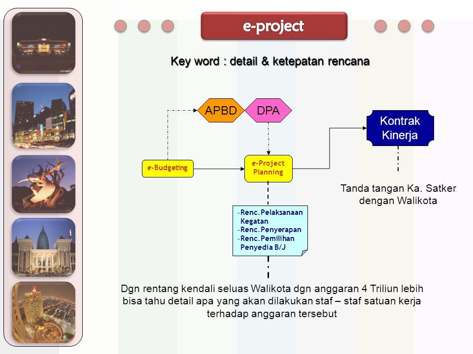 e-project Key word : detail & ketepatan rencana APBD DPA Kontrak