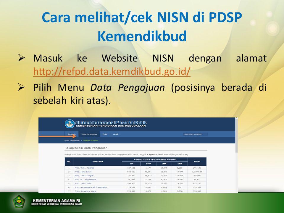 Cara melihat/cek NISN di PDSP Kemendikbud