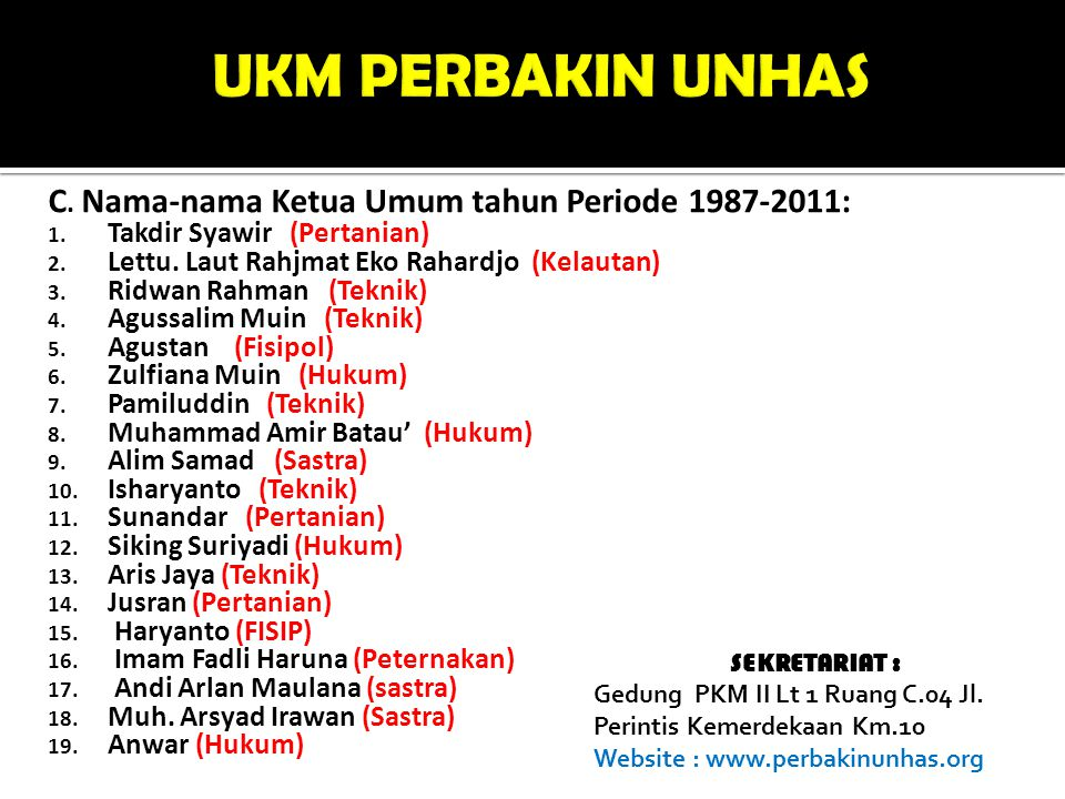 UKM PERBAKIN UNHAS C. Nama-nama Ketua Umum tahun Periode 1987-2011: