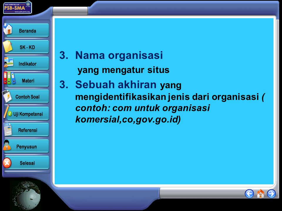 Nama organisasi yang mengatur situs.