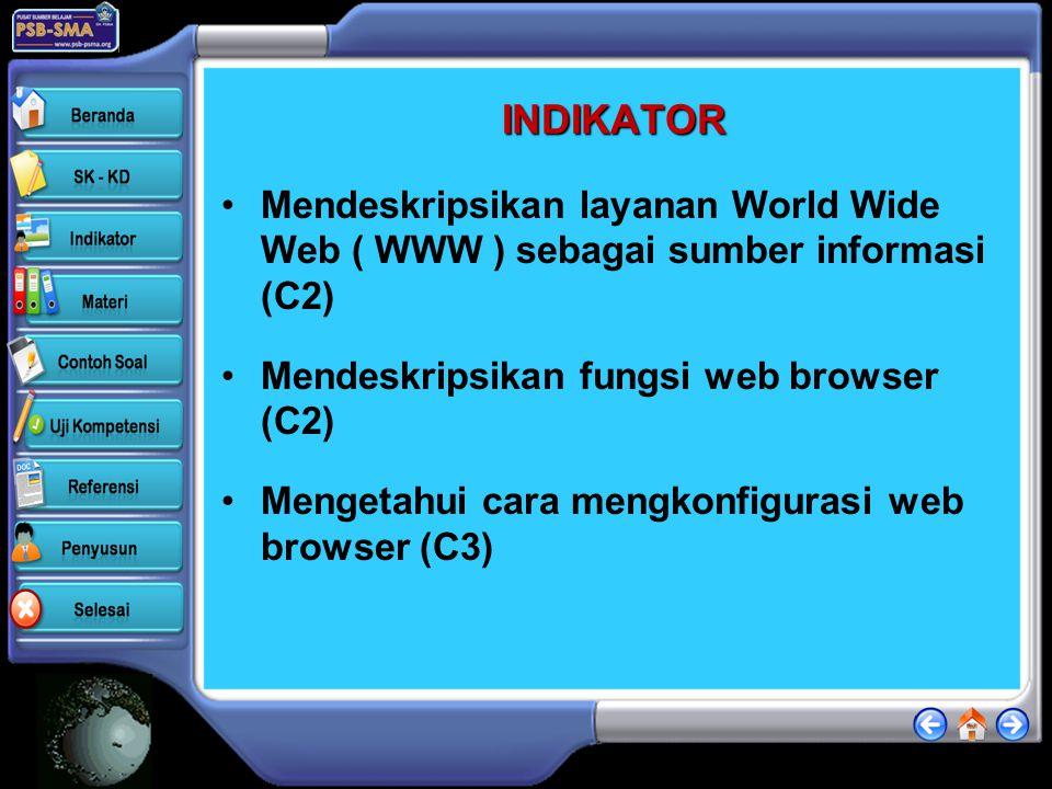 INDIKATOR Mendeskripsikan layanan World Wide Web ( WWW ) sebagai sumber informasi (C2) Mendeskripsikan fungsi web browser (C2)