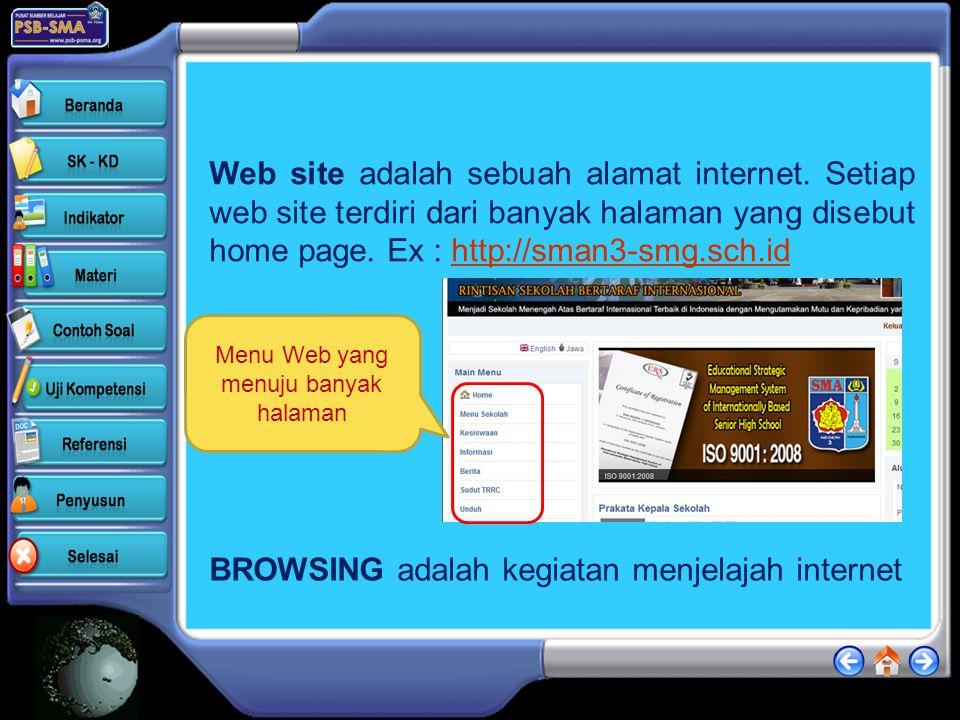 Menu Web yang menuju banyak halaman