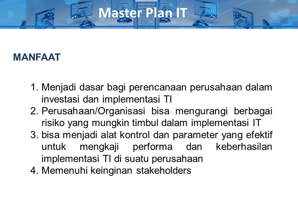 Master Plan IT MANFAAT. Menjadi dasar bagi perencanaan perusahaan dalam investasi dan implementasi TI.