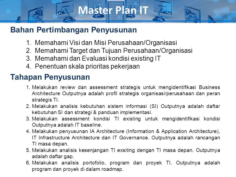 Master Plan IT Bahan Pertimbangan Penyusunan Tahapan Penyusunan