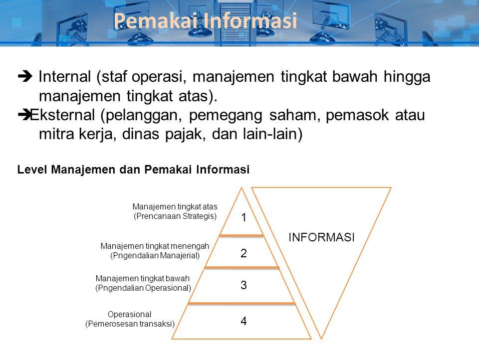 Pemakai Informasi  Internal (staf operasi, manajemen tingkat bawah hingga. manajemen tingkat atas).