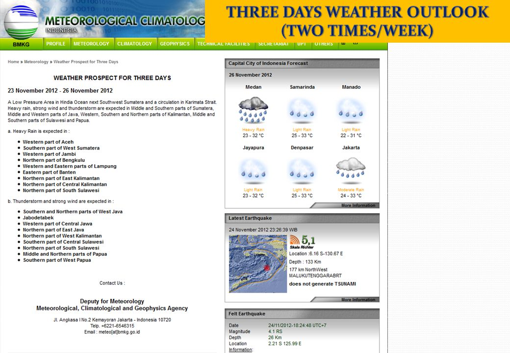 THREE DAYS WEATHER OUTLOOK