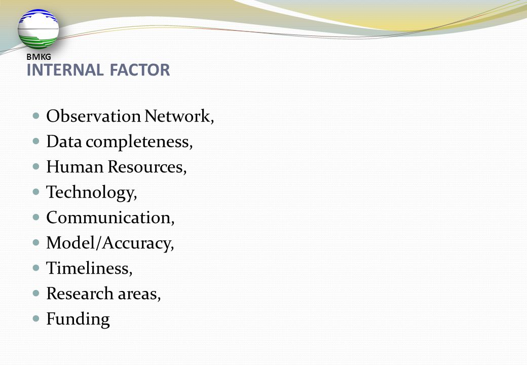 INTERNAL FACTOR Observation Network, Data completeness,