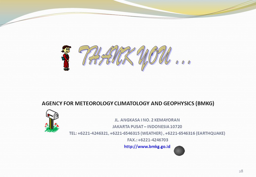 THANK YOU ... AGENCY FOR METEOROLOGY CLIMATOLOGY AND GEOPHYSICS (BMKG)
