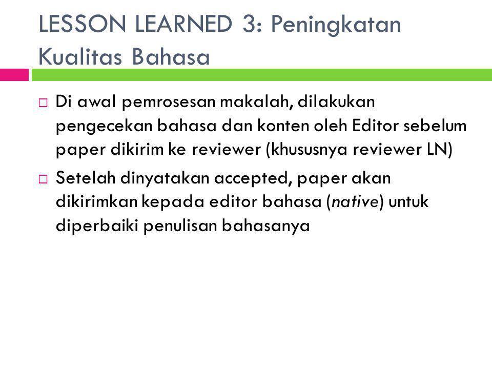 LESSON LEARNED 3: Peningkatan Kualitas Bahasa