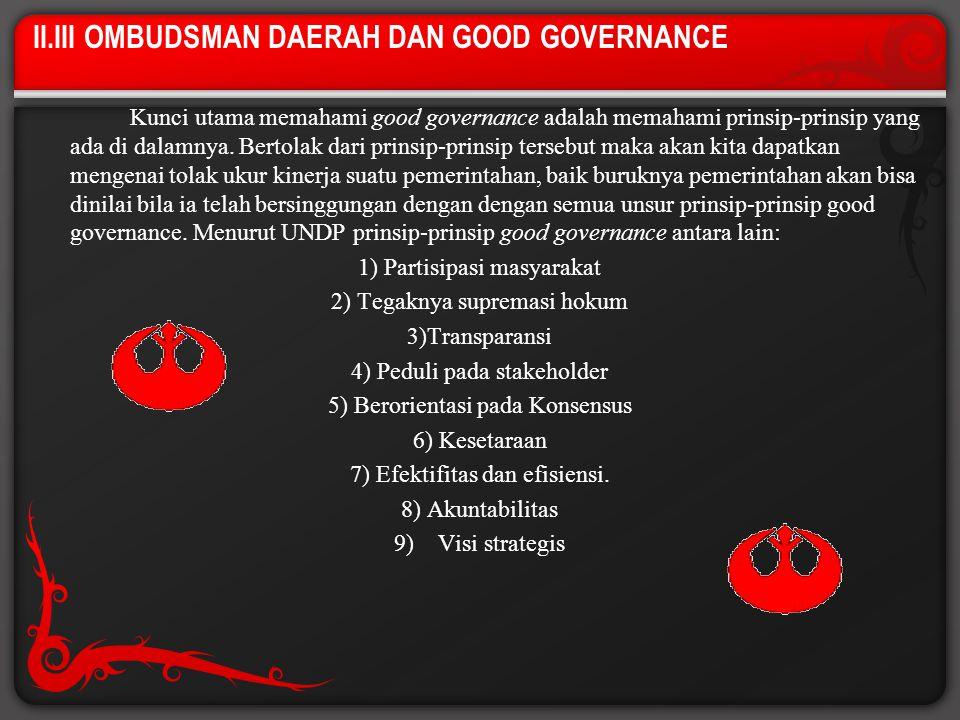 II.III OMBUDSMAN DAERAH DAN GOOD GOVERNANCE