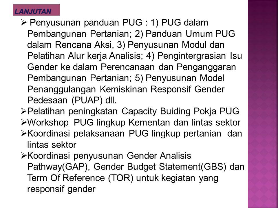 Pelatihan peningkatan Capacity Buiding Pokja PUG