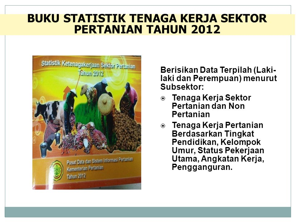 BUKU STATISTIK TENAGA KERJA SEKTOR PERTANIAN TAHUN 2012