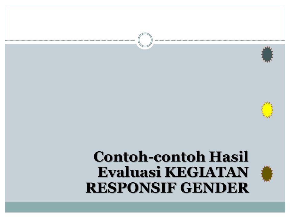 Contoh-contoh Hasil Evaluasi KEGIATAN RESPONSIF GENDER