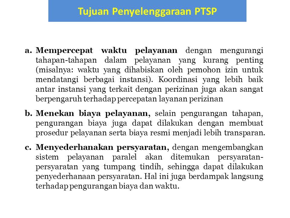 Tujuan Penyelenggaraan PTSP
