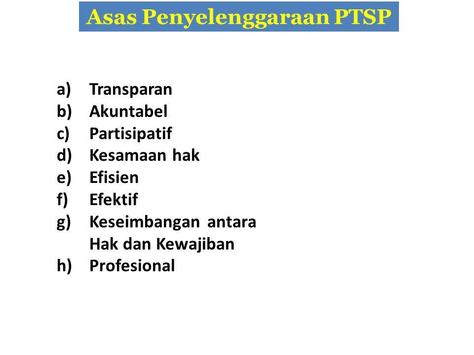 Asas Penyelenggaraan PTSP