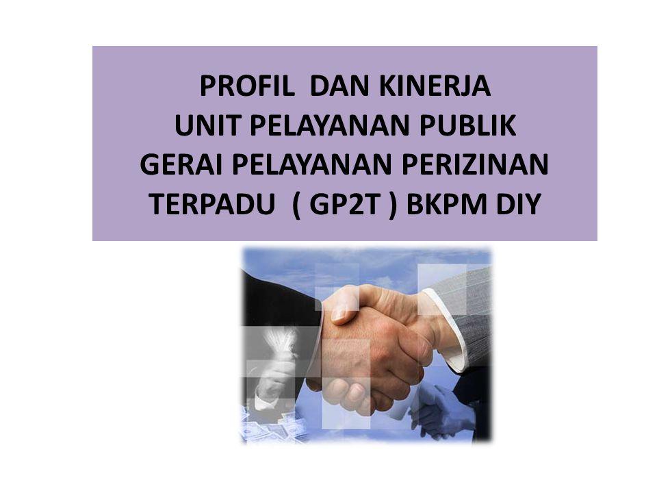 PROFIL DAN KINERJA UNIT PELAYANAN PUBLIK GERAI PELAYANAN PERIZINAN TERPADU ( GP2T ) BKPM DIY