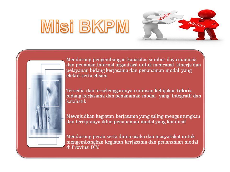 Misi BKPM Mewujudkan kegiatan kerjasama yang saling menguntungkan dan terciptanya iklim penanaman modal yang kondusif.