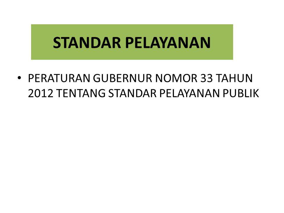 STANDAR PELAYANAN PERATURAN GUBERNUR NOMOR 33 TAHUN 2012 TENTANG STANDAR PELAYANAN PUBLIK