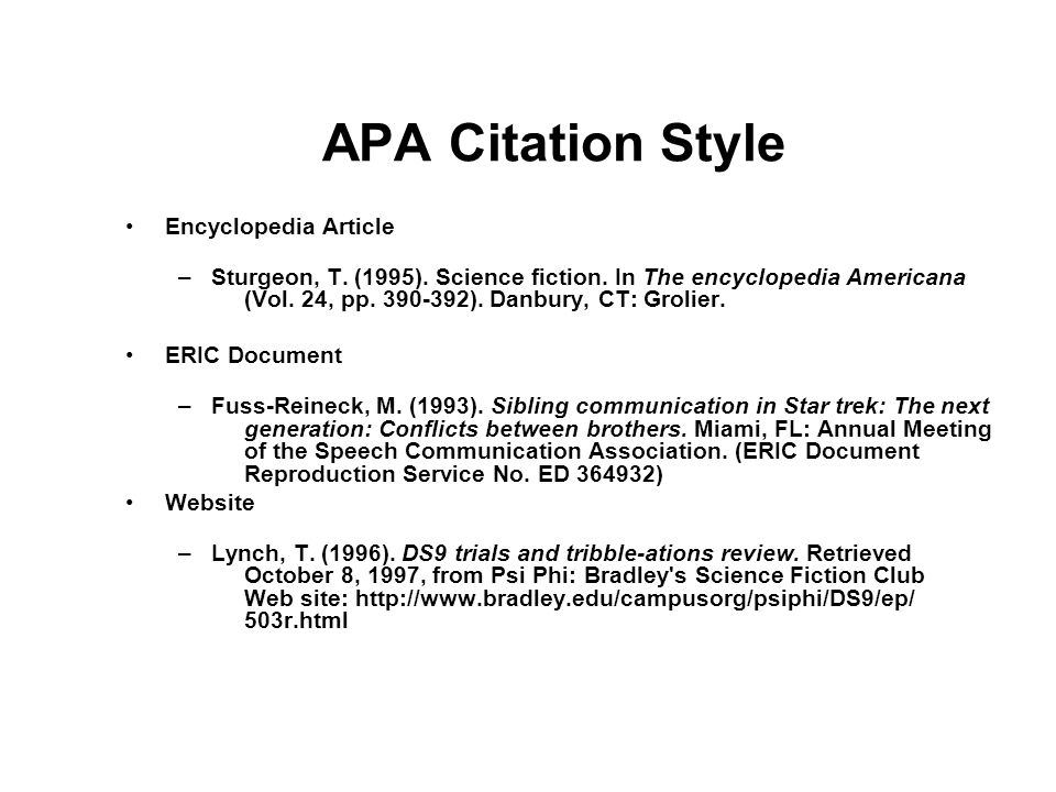 APA Citation Style Encyclopedia Article