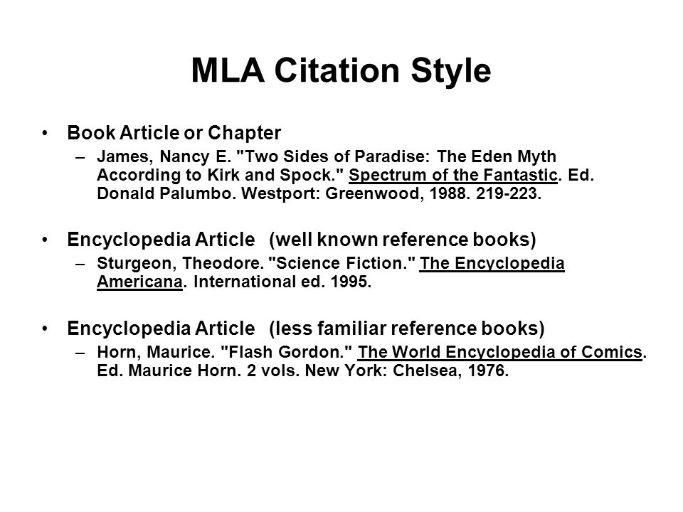 MLA Citation Style Book Article or Chapter