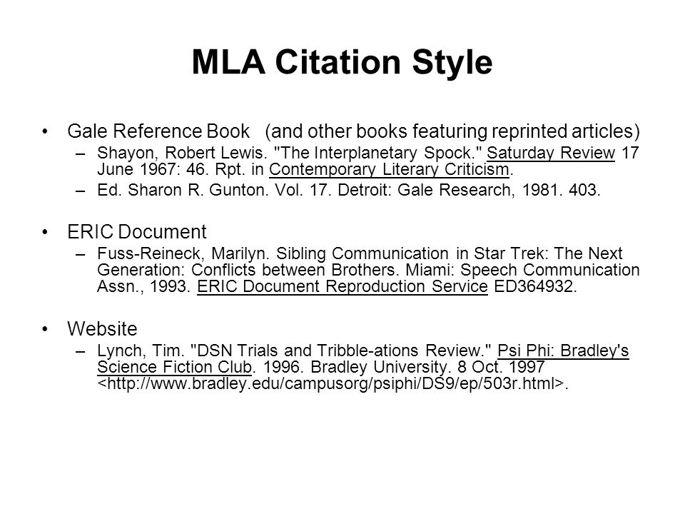MLA Citation Style Gale Reference Book (and other books featuring reprinted articles)