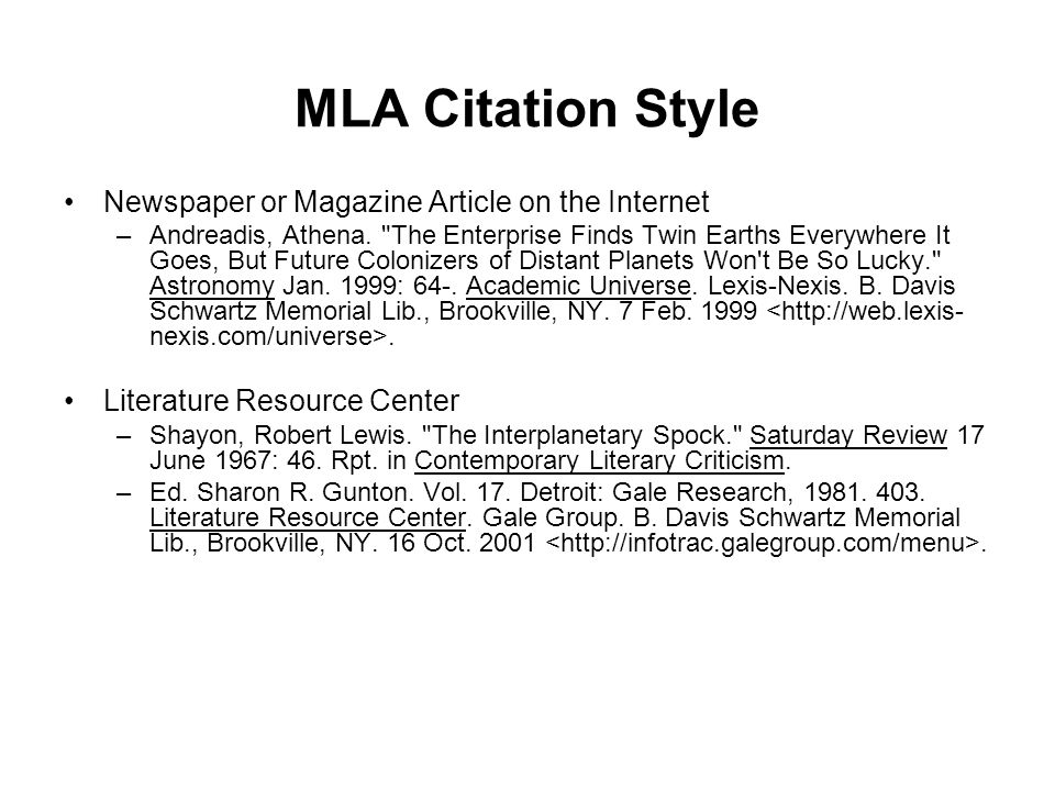 MLA Citation Style Newspaper or Magazine Article on the Internet
