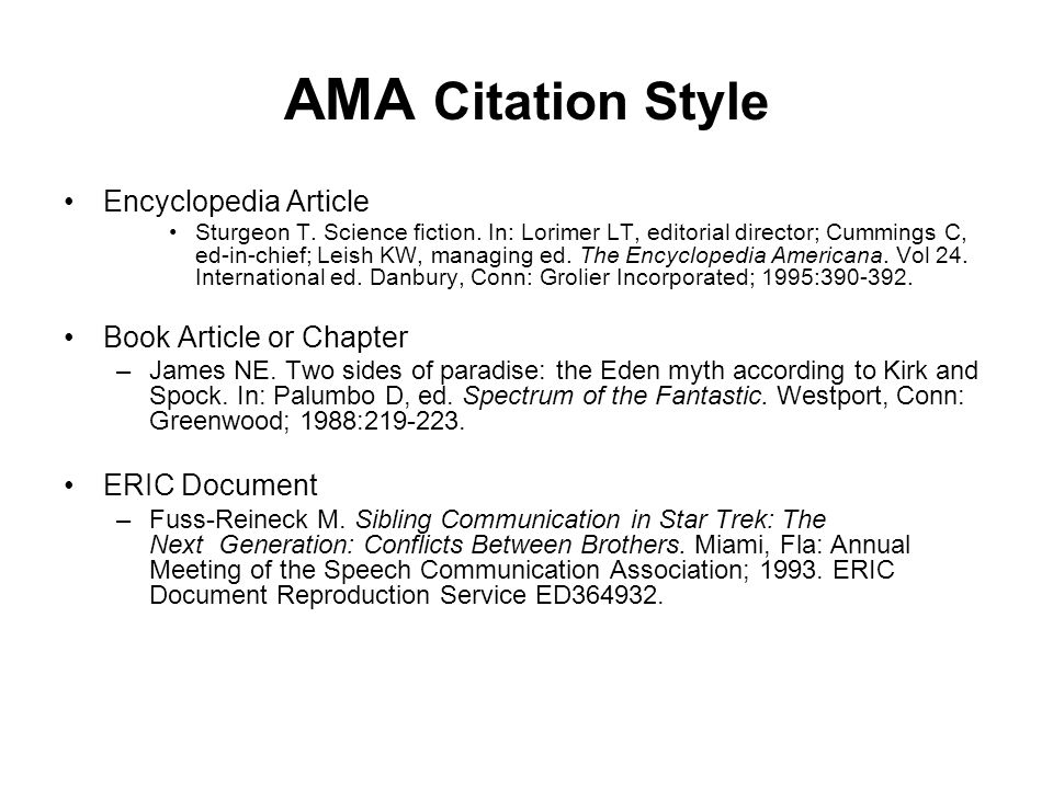 AMA Citation Style Encyclopedia Article Book Article or Chapter