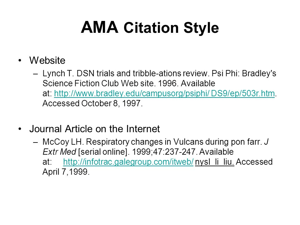 AMA Citation Style Website Journal Article on the Internet