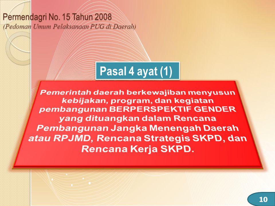 Permendagri No. 15 Tahun 2008 (Pedoman Umum Pelaksanaan PUG di Daerah)